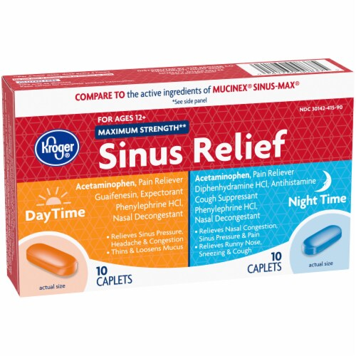 Kroger® Maximum Strength Daytime and Night Time Sinus Relief Perspective: left