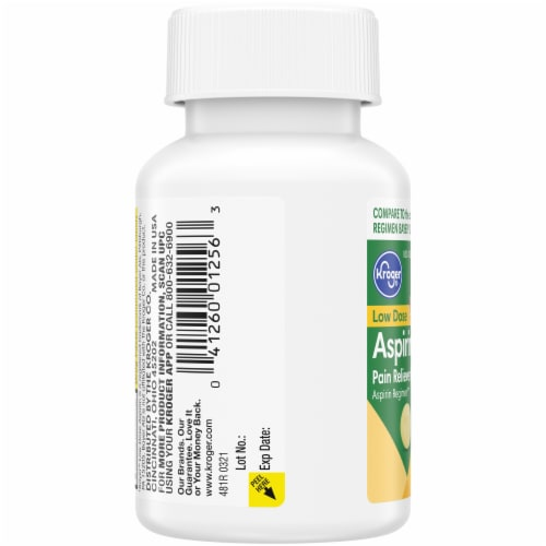 Kroger® Low Dose Aspirin Pain Reliever Enteric Coated Tablets 81mg Perspective: left