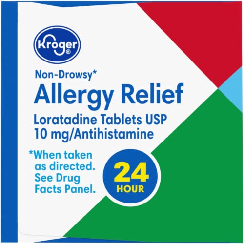 Kroger® 24 Hour Non-Drowsy Indoor & Outdoor Allergy Relief Tablets 10mg Perspective: left
