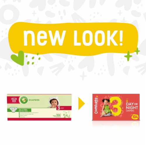 Comforts™ Size 3 Day or Night Diapers Value Box Perspective: left