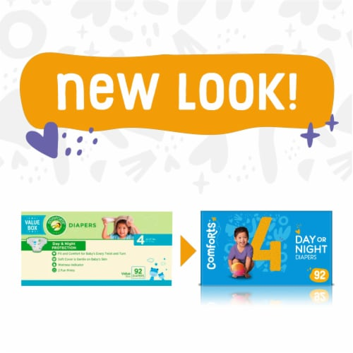 Comforts™ Size 4 Day or Night Diapers Value Box Perspective: left
