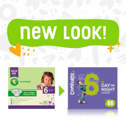 Comforts™ Size 6 Day or Night Diapers Value Box Perspective: left