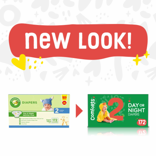 Comforts™ Size 2 Day or Night Diapers Super Value Box Perspective: left