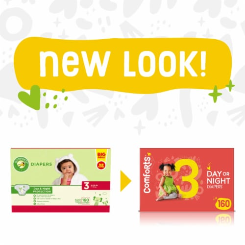 Comforts™ Size 3 Day or Night Diapers Super Value Box Perspective: left