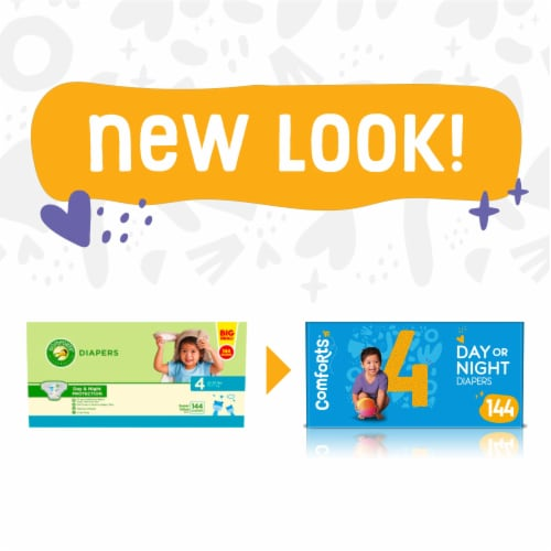 Comforts™ Size 4 Day or Night Diapers Super Value Box Perspective: left