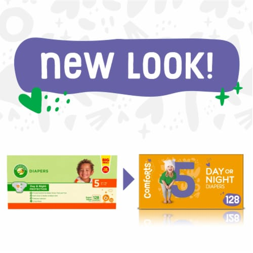 Comforts™ Size 5 Day or Night Diapers Super Value Box Perspective: left