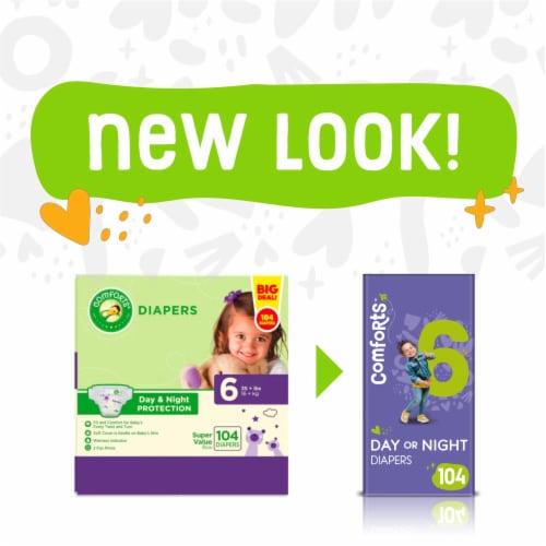Comforts™ Size 6 Day or Night Diapers Super Value Box Perspective: left