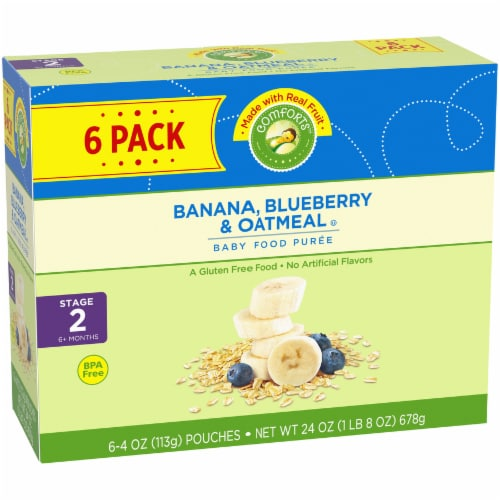 Comforts Banana Blueberry & Oatmeal Stage 2 Baby Food Perspective: left