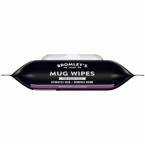Bromley's™ For Men Bergamot Lavender Mug Wipes Pre-Moistened Face Wipes Perspective: left