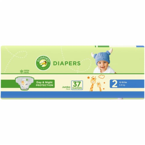 Comforts™ Day & Night Protection Size 2 Baby Diapers Jumbo Pack Perspective: left