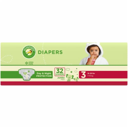 Comforts™ Day & Night Protection Size 3 Baby Diapers Jumbo Pack Perspective: left