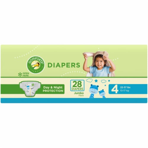 Comforts™ Day & Night Protection Size 4 Baby Diapers Jumbo Pack Perspective: left