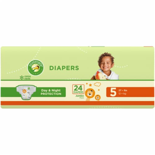Comforts™ Day & Night Protection Size 5 Baby Diapers Jumbo Pack Perspective: left