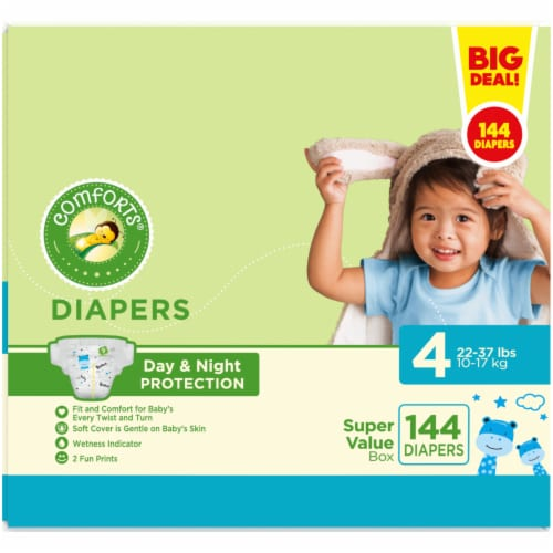 Comforts Size 4 Diapers 144 Count Perspective: left