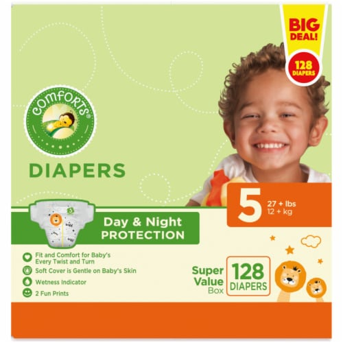 Comforts® Day & Night Protection Size 5 Baby Diapers Perspective: left