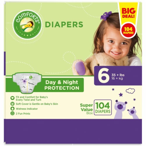 Comforts™ Day & Night Protection Size 6 Baby Diapers Super Value Pack Perspective: left