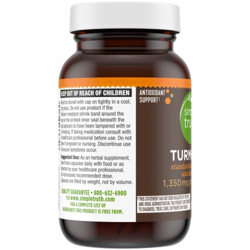 Simple Truth® Turmeric Herbal Supplement Capsules 1350mg Perspective: left