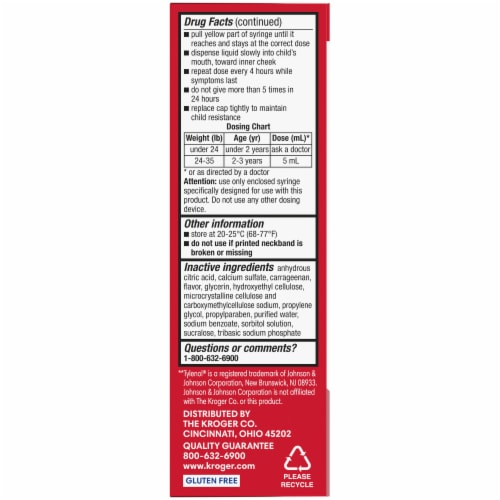 Kroger® Infants' Cherry Dye-Free Pain Reliever & Fever Reducer Suspension Liquid 160mg Perspective: left