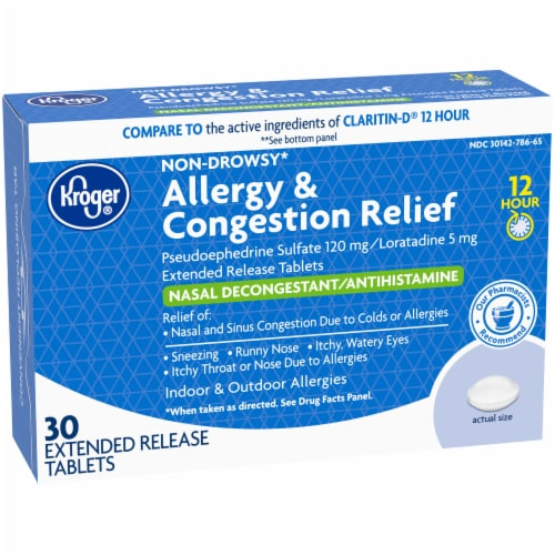 Kroger® 12 Hour Allergy & Congestion Relief Tablets Perspective: left