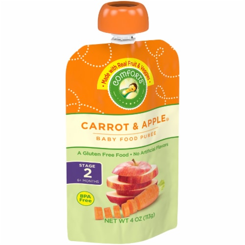Comforts™ Carrot & Apple Stage 2 Baby Food Puree Pouch Perspective: left