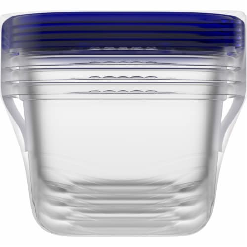 Kroger® Medium Square Food Containers with Lids - Clear/Blue Perspective: left