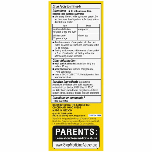 Kroger® DayTime Flu And Severe Cold And Cough Berry Flavor Packets Perspective: left