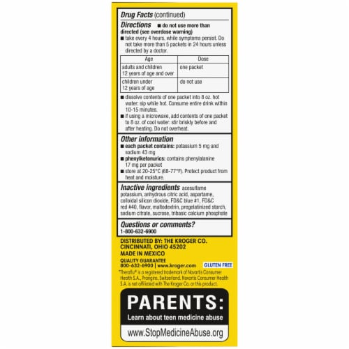 Kroger® Berry Flavor DayTime Flu + Severe Cold A& Cough Power Packets Perspective: left