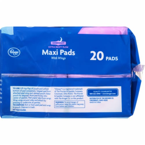 Kroger® Extra Heavy Flow Overnight Maxi Pads Perspective: left