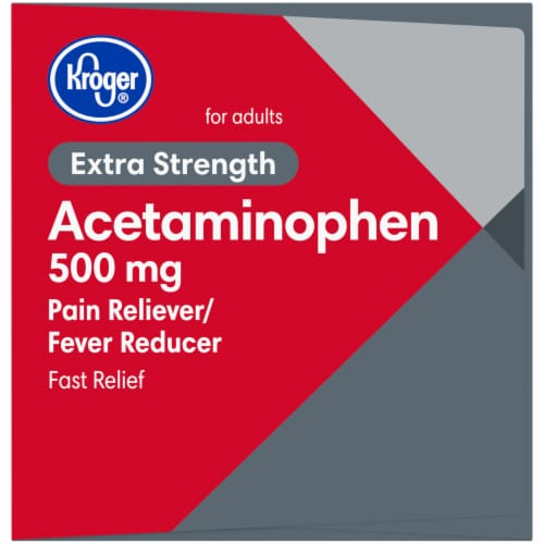 Kroger® Acetaminophen Extra Strength Rapid Release Caplets Box Perspective: left