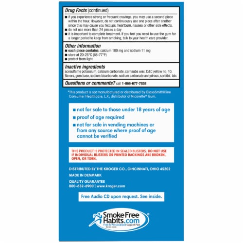 Kroger® Uncoated Original Nicotine Gum 4mg Perspective: left