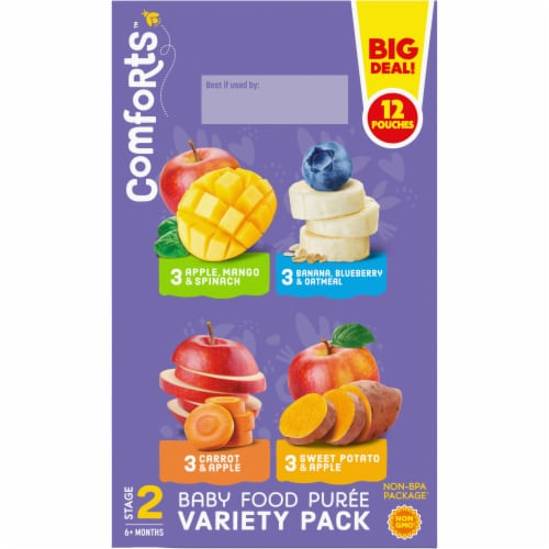Comforts Stage 2 Baby Food Puree Pouches Variety Pack Perspective: left