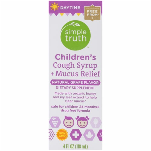 Simple Truth™ Children's Daytime Cough Syrup and Mucus Relief Grape Perspective: left