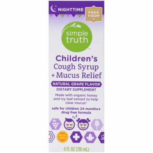 Simple Truth™ Children's Nighttime Cough Syrup and Mucus Relief Grape Perspective: left