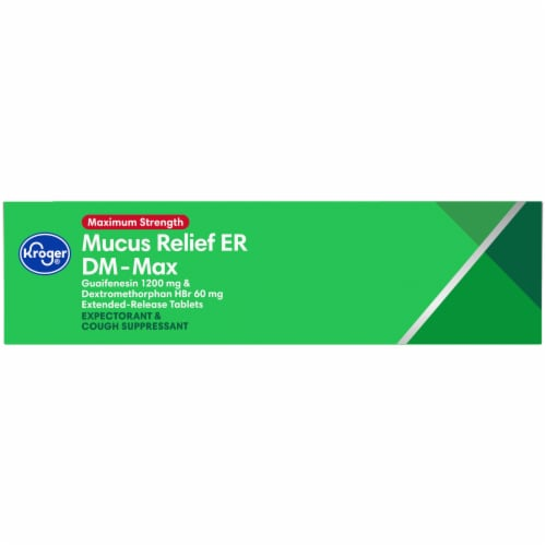 Kroger® Maximum Strength Mucus Relief ER DM-Max Extended Release Tablets Perspective: left