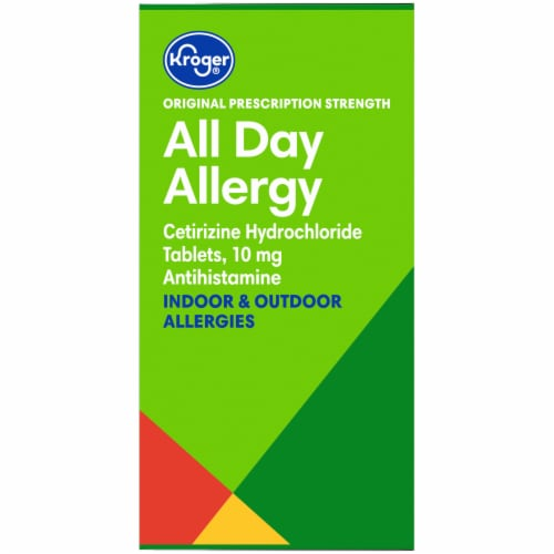 Kroger® All Day Allergy 24-Hour Relief Antihistamine Tablets 2-70 ct Bottles- 10 mg Pack Perspective: left