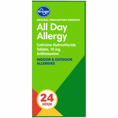 Kroger® Original Prescription Strength All Day Allergy Antihistamine Tablets Box Perspective: left