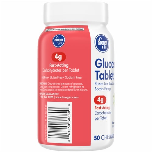 Kroger® Strawberry Flavored Glucose Chewable Tablets Perspective: left