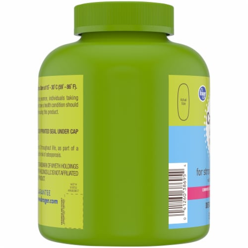 Kroger® Calcium 600 mg & Vitamin D3 Tablets Bottle Perspective: left