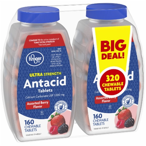 Kroger® Ultra Strength Assorted Berries Antacid Chewable Tablets 1000mg Perspective: left
