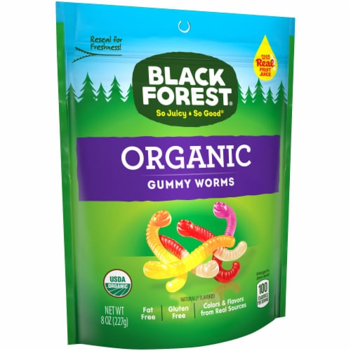 Black Forest Organic Gummy Worms Perspective: left