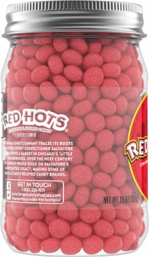 Red Hots Cinnamon Flavored Candy Jar Perspective: left