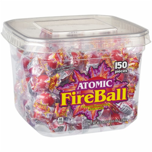 Atomic Fireball Cinnamon Flavored Candy Tub Perspective: left