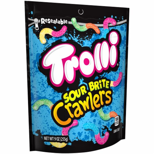 Trolli Sour Brite Crawlers Gummy Candy Perspective: left