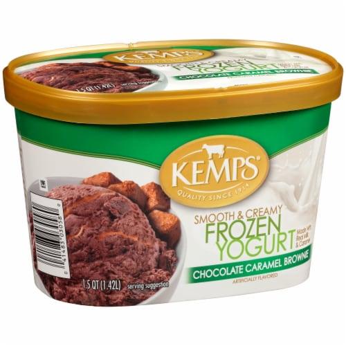 Kemps Smooth & Creamy Chocolate Caramel Brownie Frozen Yogurt Perspective: left