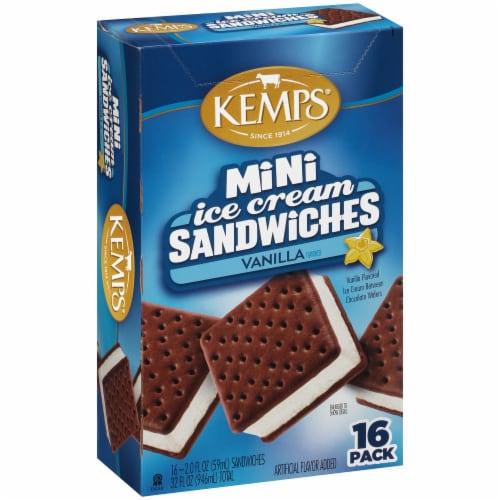 Kemps Mini Vanilla Ice Cream Sandwiches Perspective: left