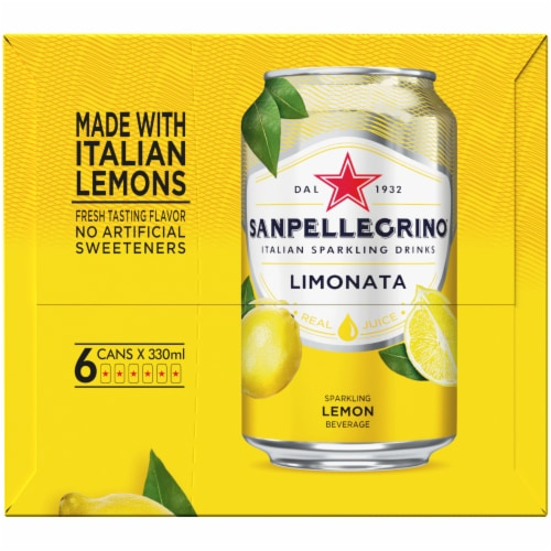 Sanpellegrino Lemon Italian Sparkling Drinks 6 Count Perspective: left
