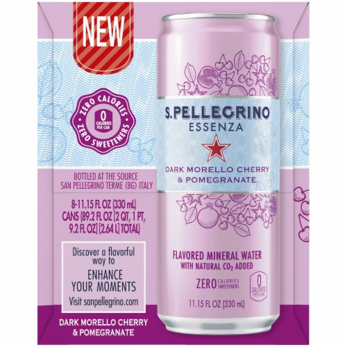 S.Pellegrino Essenza Dark Morello Cherry & Pomegranate Mineral Water Perspective: left