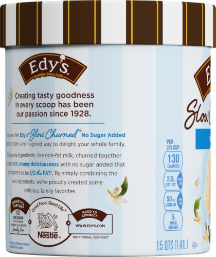 Dreyer's/Edy's Slow Churned No Sugar Added Vanilla Light Ice Cream Perspective: left