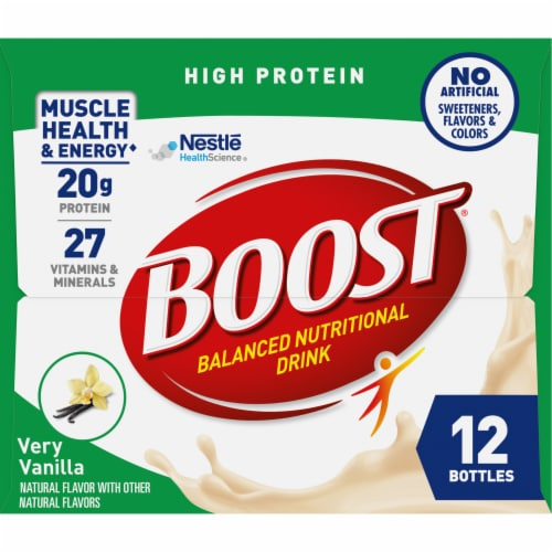 Boost High Protein Very Vanilla Nutritional Drink Perspective: left