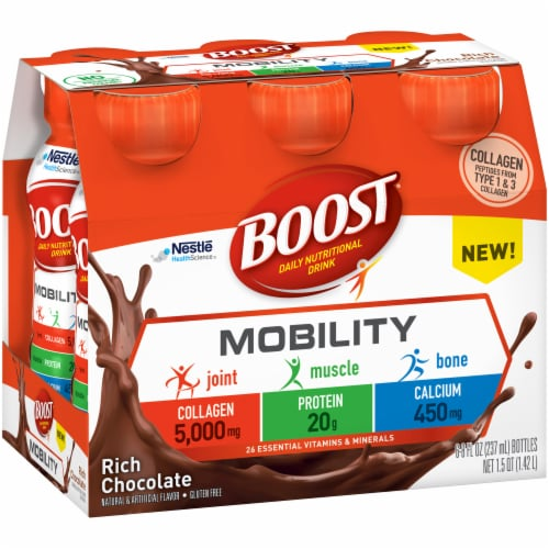 Boost Mobility Rich Chocolate Daily Nutritional Drink 6 Count Perspective: left